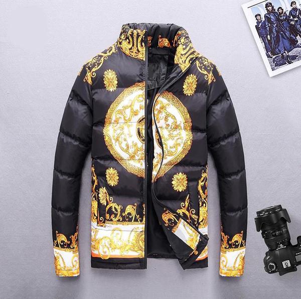 19 Winter Fashion Mens Designer Jackets Pattern Print Warm Windbreaker Stand Collar Casual Cotton Coat Down Jacket Asian Size M-3XL