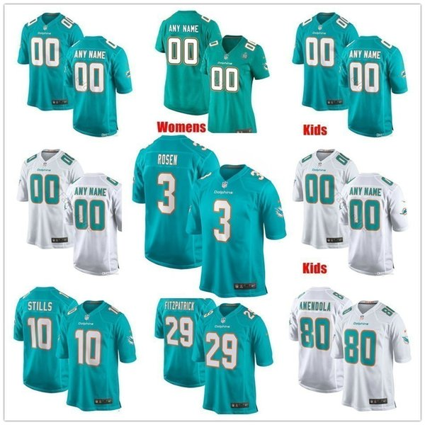 detailed look c5f59 2cf45 2019 Custom New Miami Fitzpatrick 3 Josh Rosen 42 Christian Wilkins Michael  Deiter Andrew Van Ginkel Men Women Kid Youth Dolphins Stitched Jersey From  ...