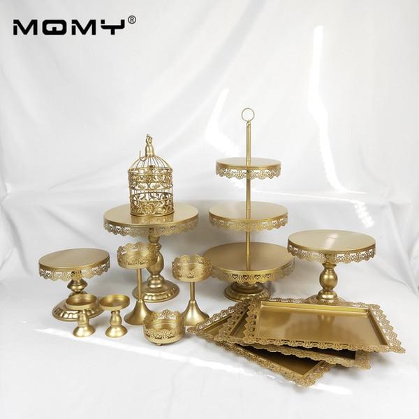 13 Stücke Gold weiß Tortenständer Set Runde Metall Kristall Cupcake Dessert Display Sockel Hochzeit Party Display