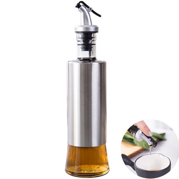 300ml Cucina Bottiglia di olio in vetro In acciaio inox a prova di perdite Salsa di soia Dispenser di stoccaggio per cruet Utili utensili da cucina