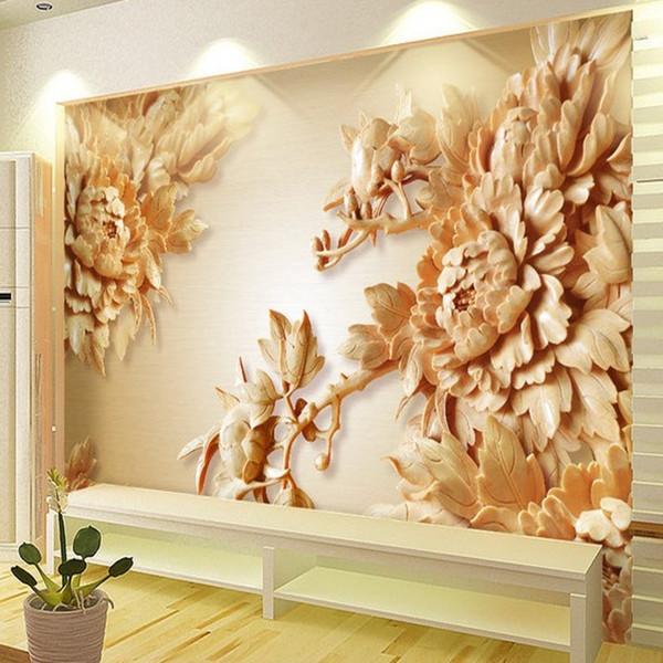 papel de parede Carta da parati personalizzata Wall Stickers Grande Murale 3D Scultura in legno Peonia Fiori TV Fondale 3 d
