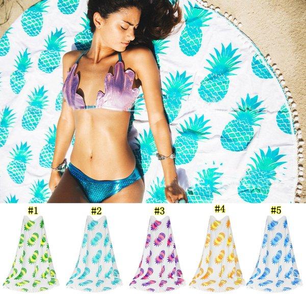 Indian rodada mandala tapeçaria piquenique ao ar livre cobertor toalha de praia jogar yo-ga mat abacaxi série de toalha de praia mma1829