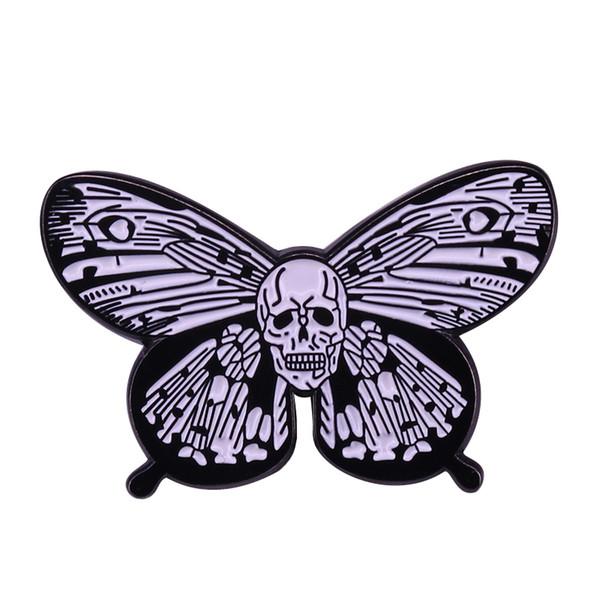 Skull Butterfly Dead Logo Biker Lady Rider Hippie Punk Rock Pin Gift for Halloween