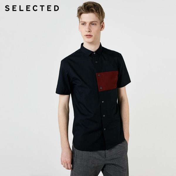 Camisa de mangas curtas contrastantes SELECTED para homem S   419204525