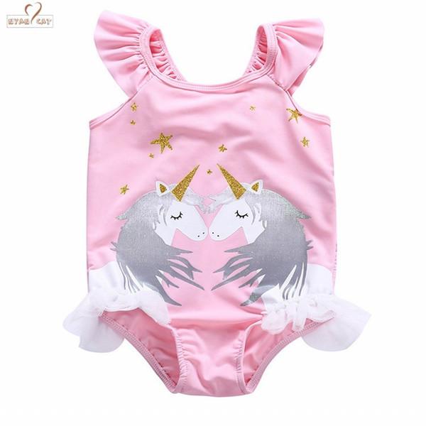 Baby Girls Kids Toddlers Cartoon Horse Swimsuit Bathing Suit One piece Swimwear Goggles Anti-fog Swimming glass