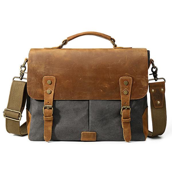 good quality Men Vintage Canvas Handbag 2019 Leather Shoulder Bag Large Capacity Crossbody Bag Messenger Laptop Casual Tote Bag Modis