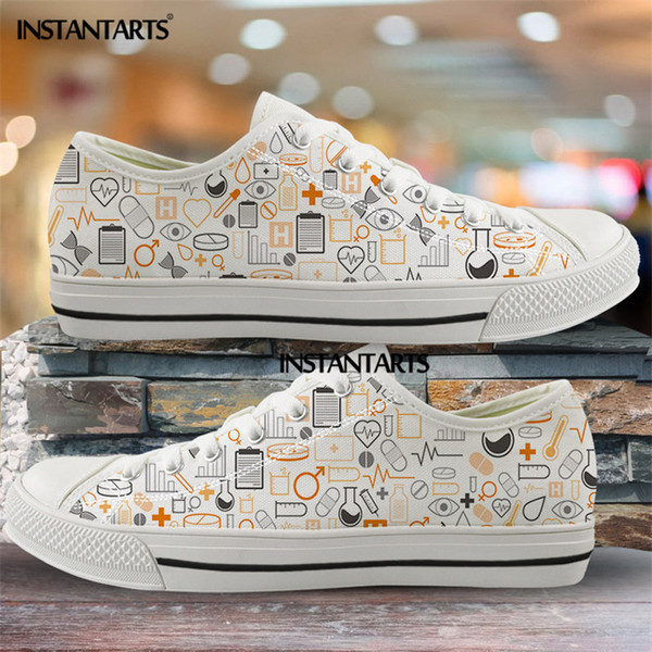 instantarts women nursing shoes casual lace up casual sneakers medical nurse print low canvas shoe mens sneaker light weight