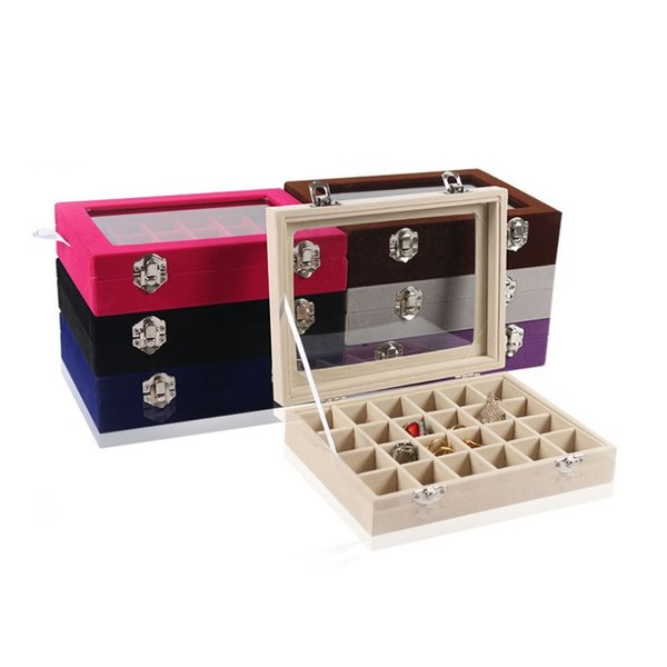 24 Grids Velvet Jewelry Display Box Rings Earrings Necklaces Makeup Organizer Women Jewelry Storage Case W9695