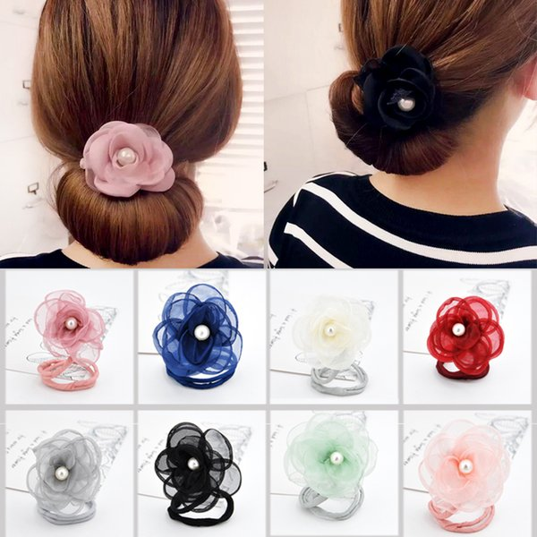 Fashion Clips With Flowers Pearls Korean Style Hair Ties Bun Diy Hair Styling Tools Girls Women Hair Accessories Headdress Flowered Headbands Flowers