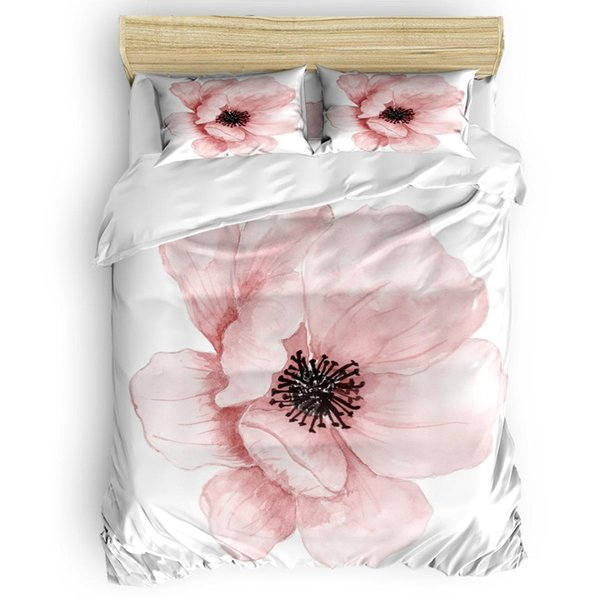 Pink Flower Duvet Cover Set Bed Sheets Comforter Cover Pillowcases Twin Full Queen King Size 4pcs Bedding Sets White