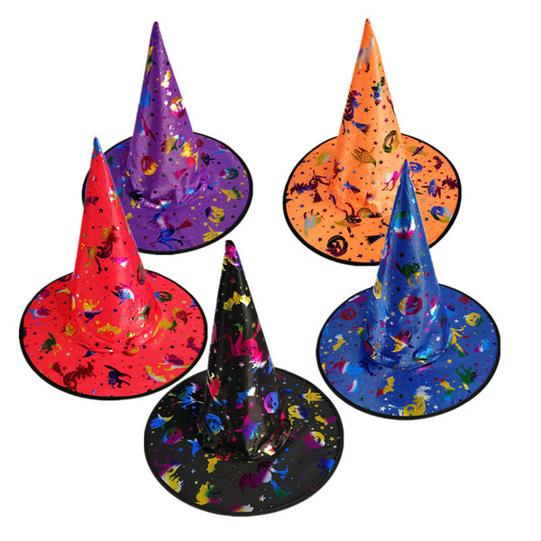 Mosaic Gold Printing Party Costume Accessories Halloween Crafts For Your Kids Adult Pumpkin Fantasy Wizard Witch Hat With Wide Brim