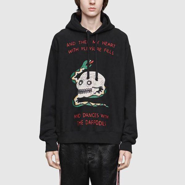 Herren Marke Sweatshirt Designer Hoodies Manifest Schädel Schlange Stickstiche Drucken Pullover Sport Casual Qualität Herbst Frühling LJJ98292