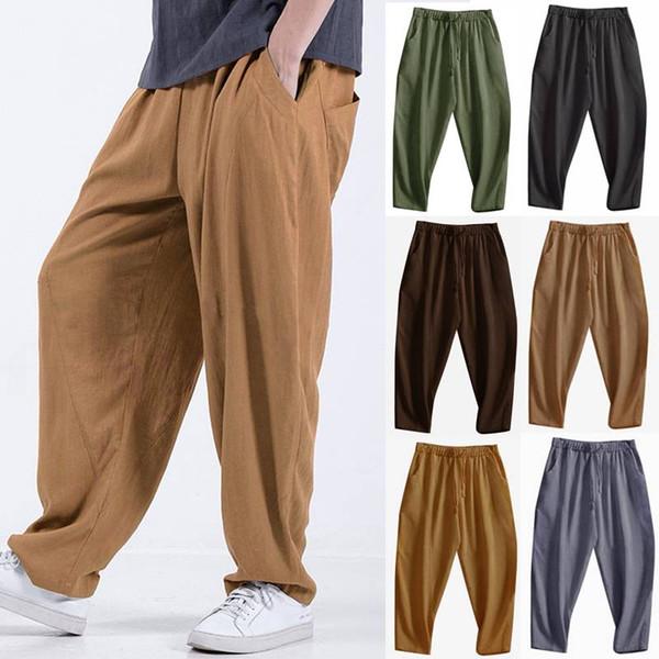2019 Fashion Men Harem Pants Cotton Joggers Pockets Drawstring Vintage Trousers Men Streetwear Hip-hop Casual Pants