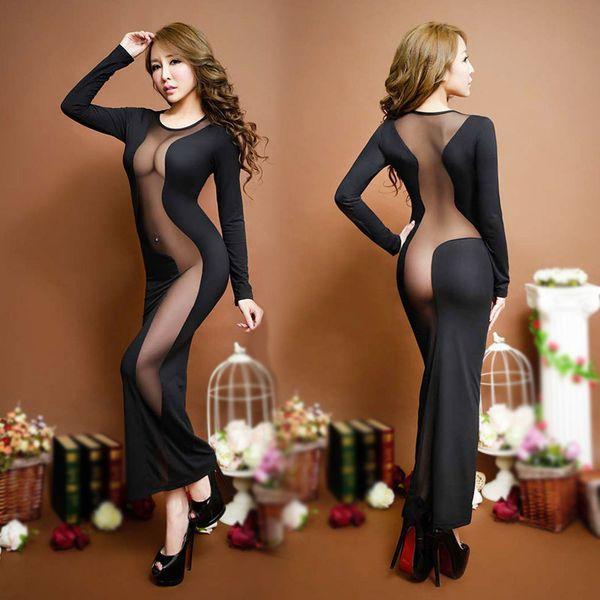유럽과 미국 나이트 클럽 드레스 섹스 속옷 섹시한 란제리 유혹 여성 긴 드레스 란제리 로브 블랙 2018 새로운 D18120802