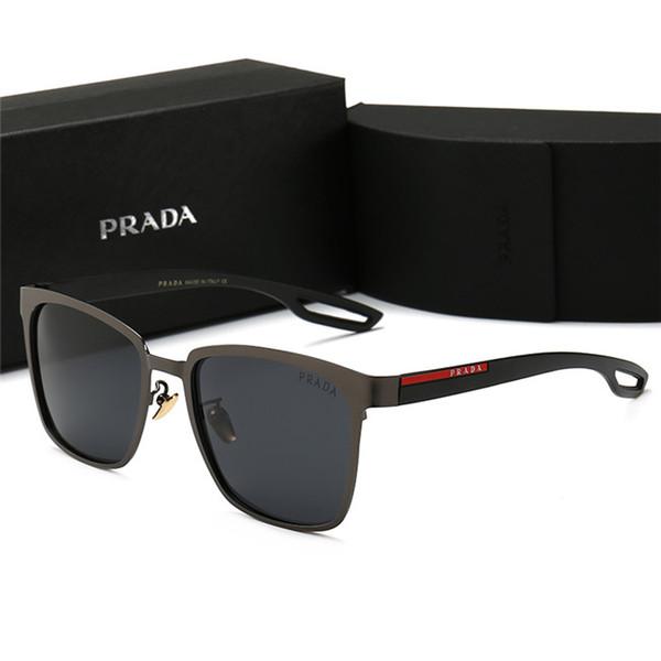 Lunettes de soleil pour hommes de marque de lunettes de soleil en cuir de haute qualité avec logo carré sur lentille Lunettes de soleil de designer pour hommes noires brillantes Nouveau