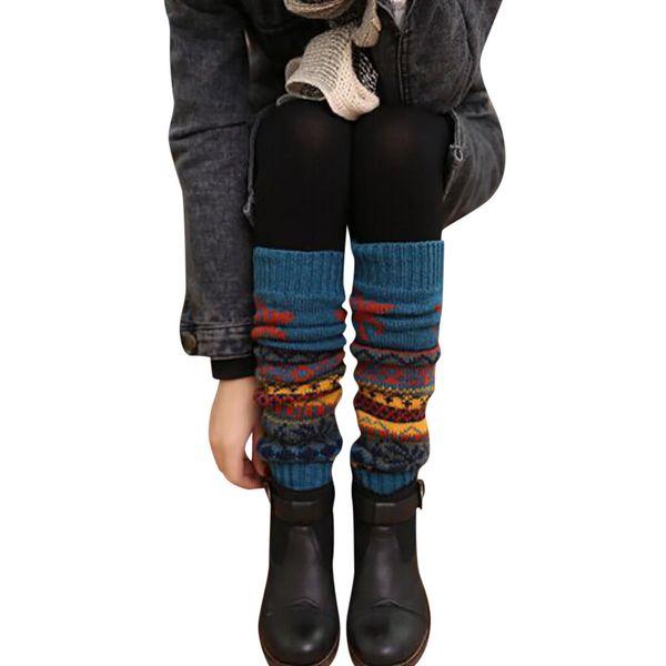e277bd317f7ed Women Winter Leg Warmers Boot Socks Rainbow bunny print Mid tube socks  knitted Knee Cable Knit