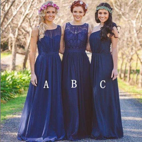 2019 Nuevo Azul marino Playa bohemia dama de honor vestidos de gasa de encaje vacaciones de verano junior vestidos de estilo mixto largo de dama de honor Vestidos barato