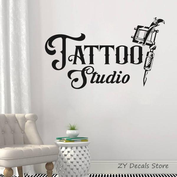 Dövme Stüdyosu İşaret Duvar Çıkartması İş Logo poster Vinil Sanat Sticker Dövme Makineleri Pencere Çıkartma Su geçirmez duvar kağıdı