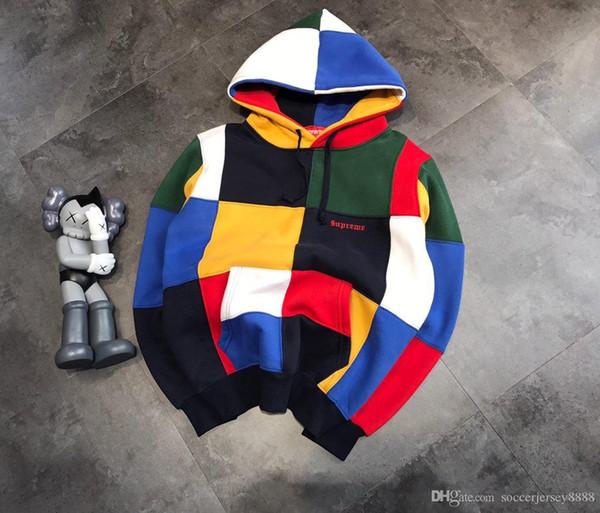 New luxurious brands design SUP Patchwork hoodie outdoor hoodie Fashion men women lovers casual Streetwear Sweatshirts Outdoor hooded