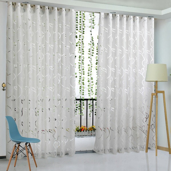 best selling Floral Vine Leaf Partition Curtain Polyester Modern Curtains for Living Room Balcony Window Sheer for Bedroom