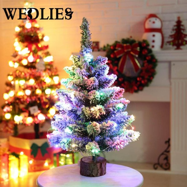 50cm Led Mini Christmas Tree Lighting String Pvc Desktop Small Tree Table Ornaments Home Party Decoration Christmas Supplies Christmas Ornaments Sale