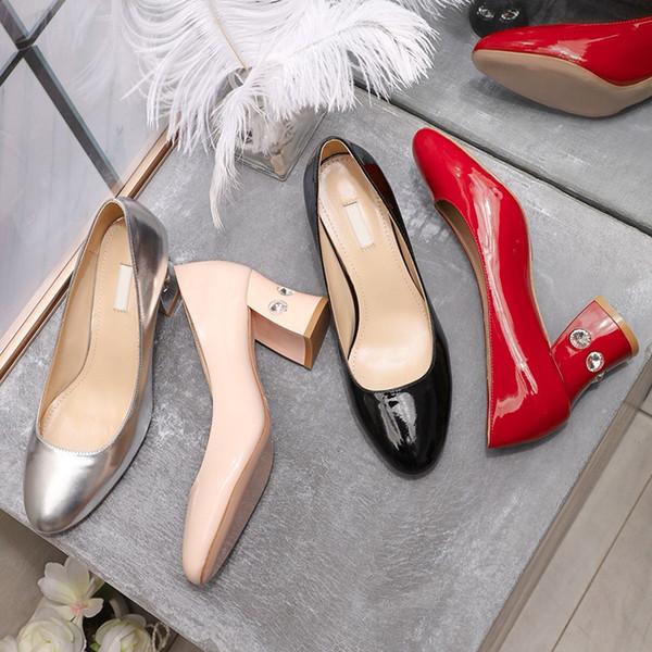 Коробка новой моды дизайнер обуви кожа лакированная кожа на высоком каблуке 6,5 см 4 цвета толстый горный хрусталь дамы повседневная одежда свадебная обувь