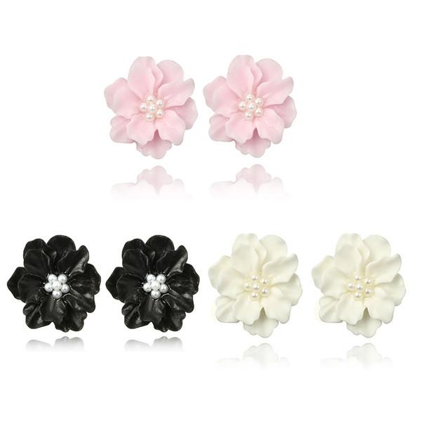 Moda nero bianco rosa Saturna orecchini per le donne perla floreale orecchini orecchino gioielli dichiarazione