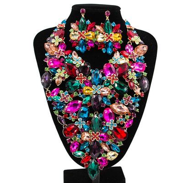 Afrikanische Perlen Schmuck Sets Für Frauen Zubehör Hochzeit Braut Kristall Anhänger Aussage Halskette Ohrring Harz Edelstein Schmuck Set