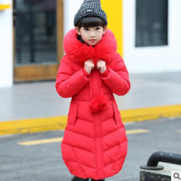 Les filles à la main en peluche coton Manteau 2019 chaud à capuche pour enfants Épaississement d'hiver nouveaux enfants longue Section 2 Couleurs solides Size6-14 ly157
