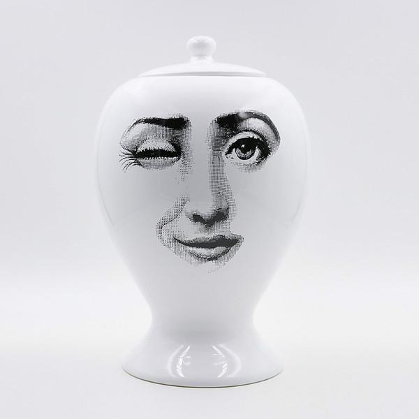 2018 Neues Kreatives Designmuster Italien Fornasetti Vase Wohnzimmer Dekoriert Vase Porzellan Blume