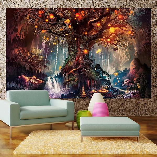 Isteyen Ağaçları Goblen 3D Baskı Goblen Duvar Asılı Psychedelic Dekoratif Duvar Halı Çarşaf Bohemian Hippie Ev Dekor Ücretsiz kargo
