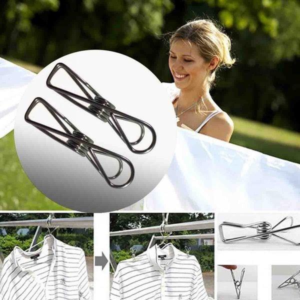 Clips de acero inoxidable de ropa Ganchos Pinzas para la ropa durable multiuso utilidad de pernos Para el hogar pinzas de 50pcs / set