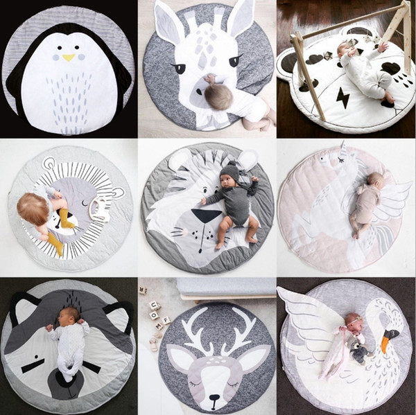 top popular Baby Blankets Kids Crawling Carpet Round Floor Rug Baby Rabbit Blanket Cotton Game Pad Children Room Decor Photo Props 17 Styles DHW3909 2021