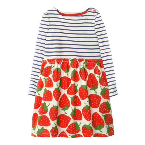 Miúdo Vestido de Algodão Meninas Bonito Morango Imprimir Vestido de Bebê roupas Casuais Criança manga Longa stripe clothing traje da menina da criança