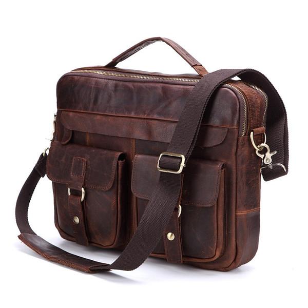 Nesitu Promotion Vintage Genuine Leather Men Briefcase Messenger Bags Shoulder Bag Portfolio ipad Bag for A4 Paper #M207 #483025