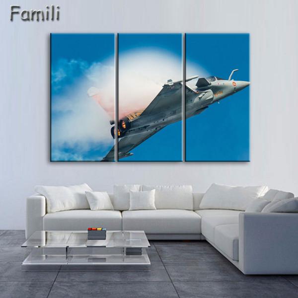 Satın Al 3 Panel Modern Baskılı Fighter Uçak Tuval Boyama Savaş Uçak