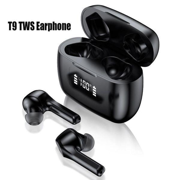 top popular T9 TWS Wireless Bluetooth 5.0 Earphones Charging Case LED Display Waterproof Earphone Auto Pairing Transmission Distance F9 Black White 2021