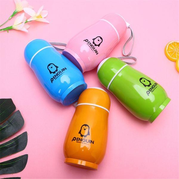 300 ml Forma de Pingüino Botella de Agua de Acero Inoxidable de Doble Capa Vaso Portátil Lindo Frasco de Termo Taza de Viaje de Oficina Botella de Bebida