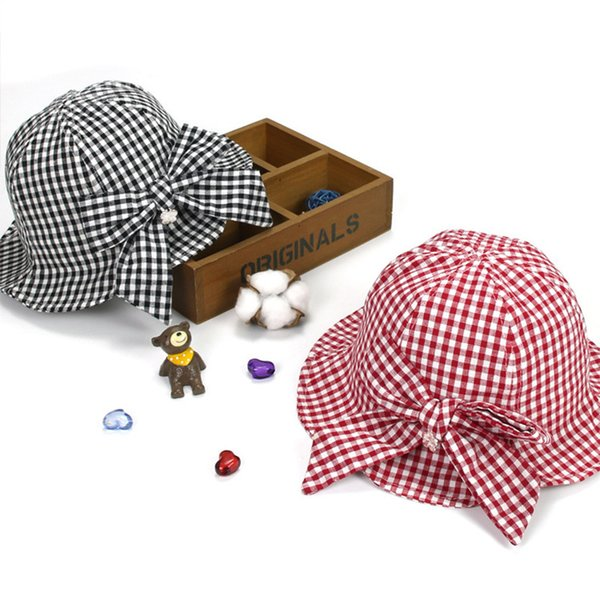 Ideacherry Summer Baby Girls Sun Lovely Red Black Plaid Con Bowknot Pearl Bucket Cap Al Aire Libre Sombrero Para 1-3 Años C19041302