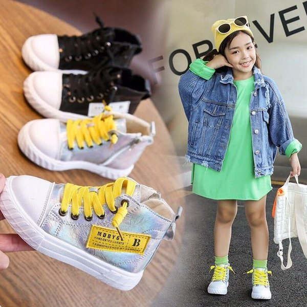 Girls' casual shoes fall 2019 new fashion children's high-top sneakers boys Korean style shoes fashion