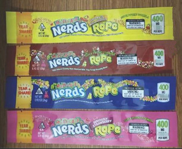best selling hot empty gummy candy bag Nerds rope plastic edibles retail packaging 4 styles custom smell proof mylar bag