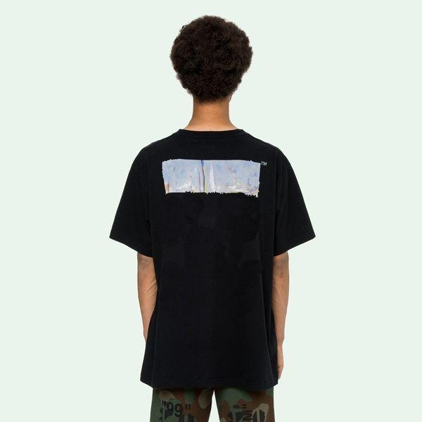 19SS Pintura de manga corta Moda Casual Tee Street High Men Mujeres Verano Verano Transpirable Cool Cotton T-Shirt HFLSTX334