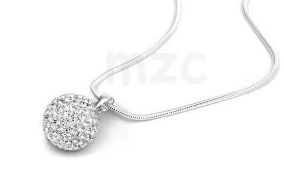 Lowest Price! white ball Crystal Necklace Silver plated Jewelry Rhinestone Disco Crystal Bead Necklace women jewelry Gift