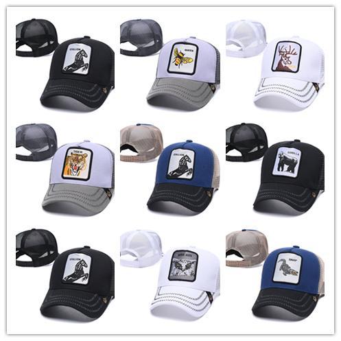 Summer Bee Mesh шляпа Женщина мода Visor Hat Мужчина вышивка Тигр Бейсболка Регулируемой Snapback животные Hat Cap мяч для гольфа