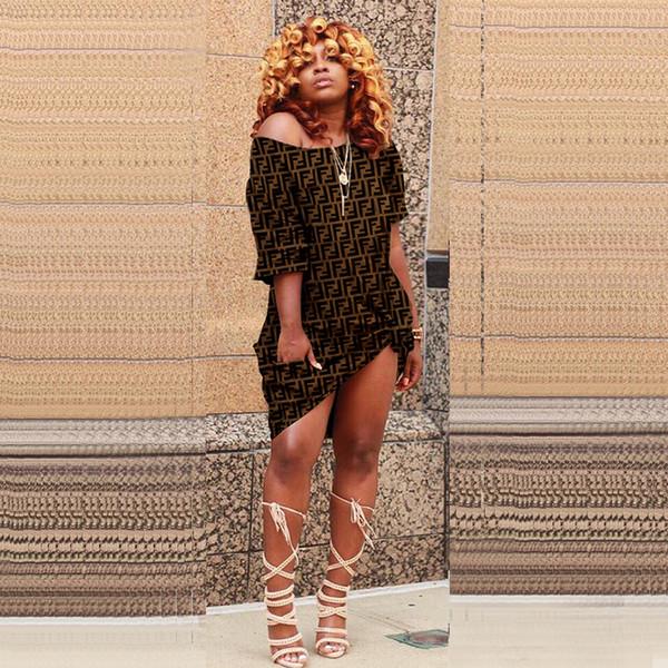 Womwn Été FF Imprimer Designer D'été Une Épaule À Manches Courtes Flora Vêtements Pour Femmes De Mode Club De Nuit De Style Sexy Habillement Décontracté