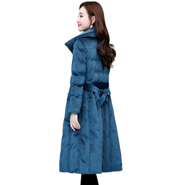 2019 New Women Parkers Cotton Clothes Long Korean Fashion Slim Thick Jacket Gold Velvet Jacket Winter Solid Color Bow Outerwear