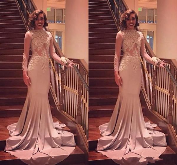 Modeste Appliqued dentelle sirène robes de soirée à manches longues col montant Robes de bal Robes occasion spéciale Robes filles africaines Pageant robe