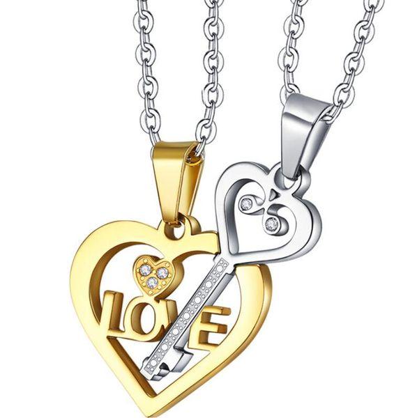 designer jewelry titanium steel necklace couple necklace heart key love pendant necklace for couples hot fashion