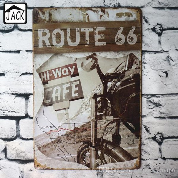 ROUTE 66 Hi Way for 8x12 inch Vintage Poster Metal Tin Signs Tin Plaque Advertising Shop Bar Pub Garage Wall Decor Tin Paintings