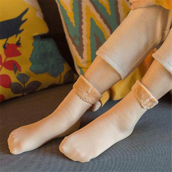 Mais grossa de veludo meias neve outono e inverno imitação nylon flange quentes meias antiderrapantes chão tubo